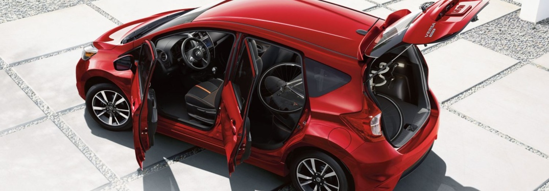 Red 2018.5 Nissan Versa Note with all doors open