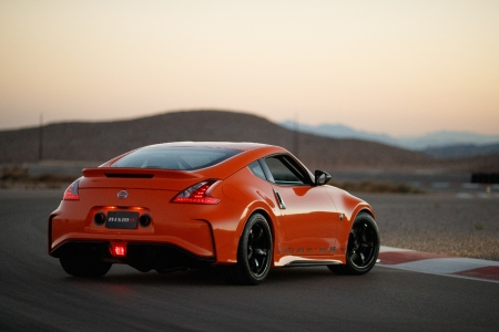 Rear view of the Nissan Project Clubsport 23 on a track