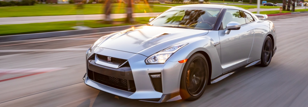 2019 Nissan GT-R driving at sunset