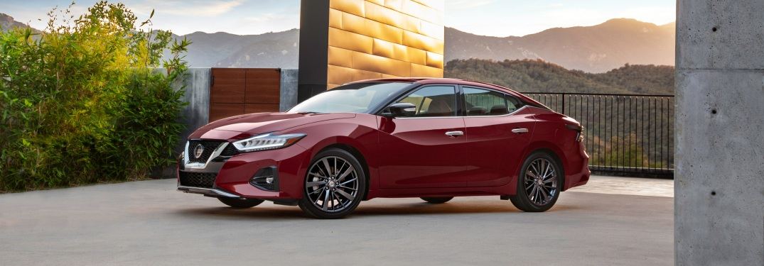 Side view of a red 2019 Nissan Maxima