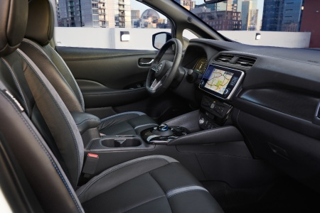 Front seat interior of the Nissan LEAF e+