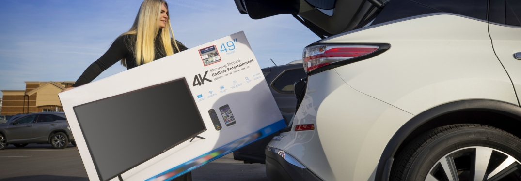 Woman putting a TV in the back of her car