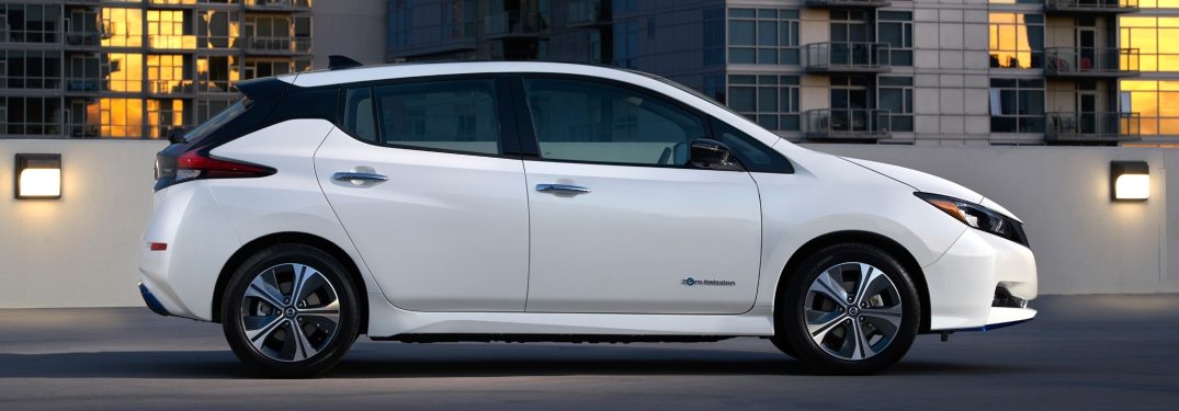 Side view of a 2019 Nissan LEAF PLUS