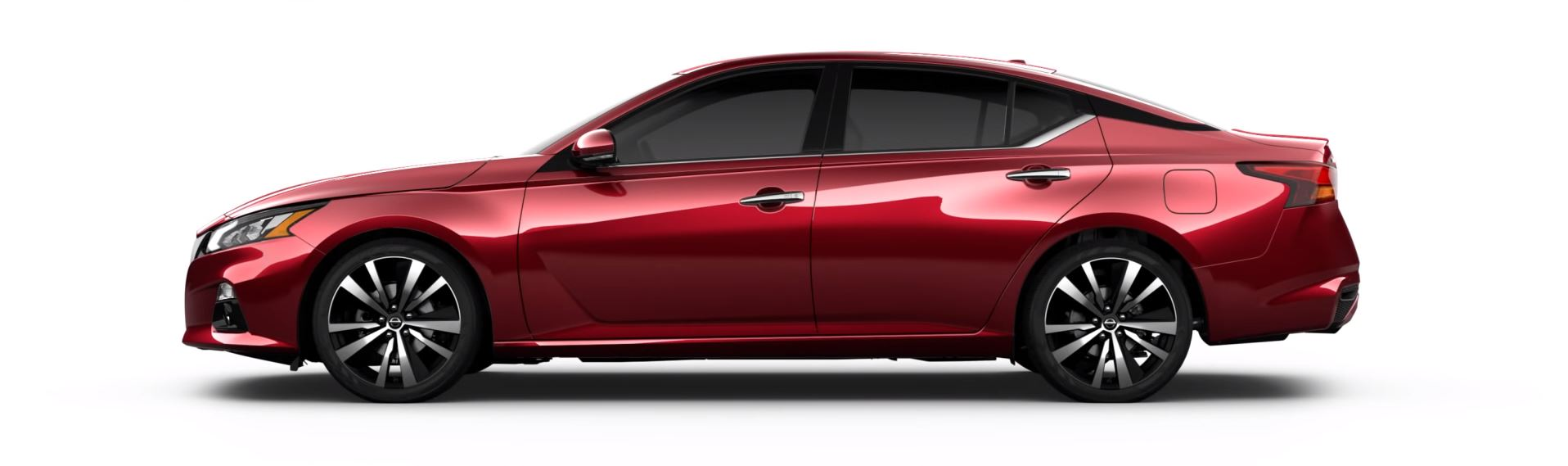 Side view of a red 2019 Nissan Altima on a white background