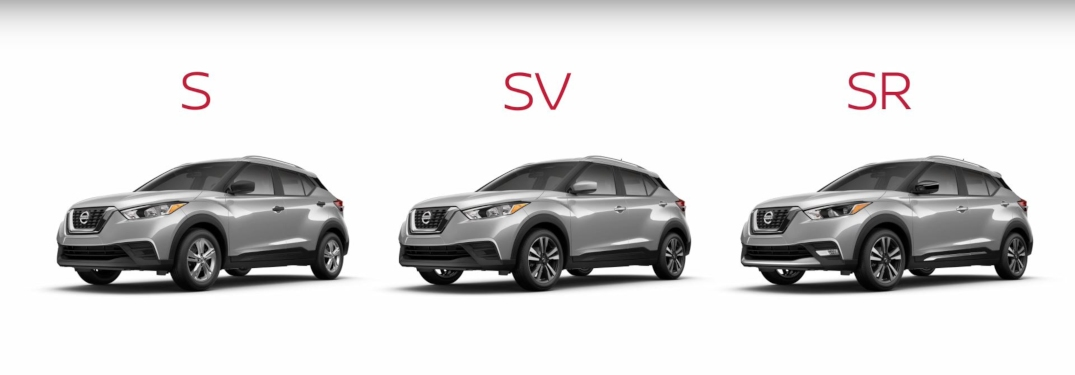 S, SV and SR trims of the 2019 Nissan Kicks in a row