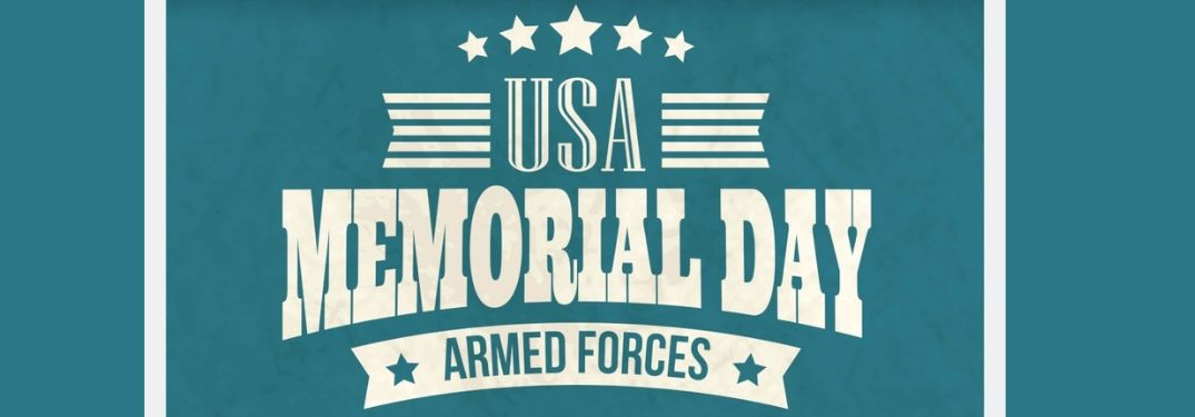 USA Memorial Day Armed Forces text on blue/green background