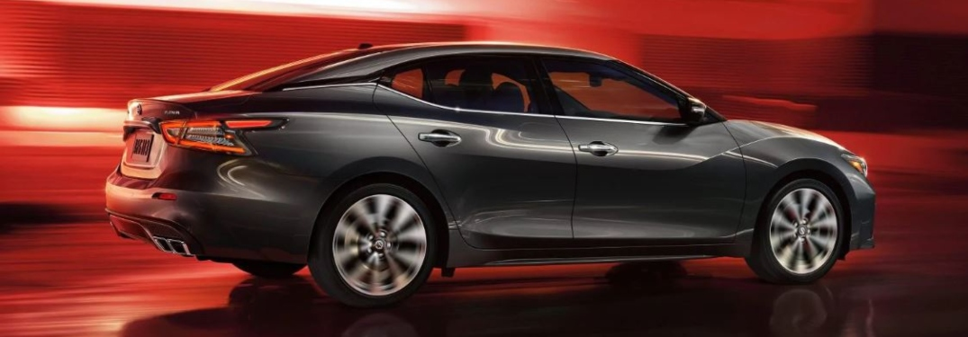 Side view of a black 2019 Nissan Maxima on a red background