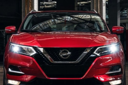 Front view of a red 2020 Nissan Rogue Sport