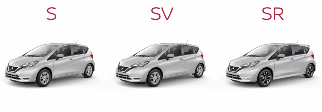 2019 Nissan Versa Note S, SV and SR models on a white background