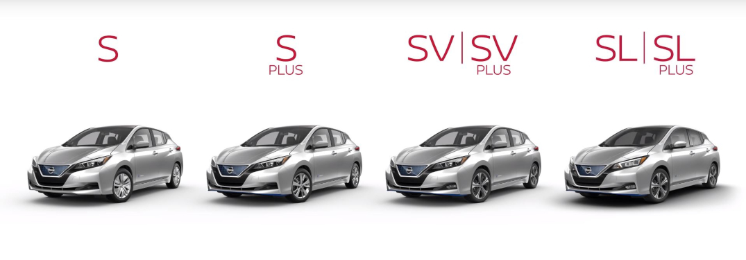 Lineup of each trim level of the 2019 Nissan LEAF
