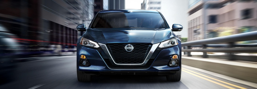 Front view of a blue 2020 Nissan Altima