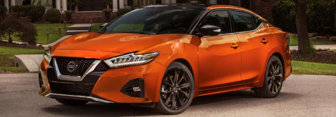 Side view of an orange 2020 Nissan Maxima