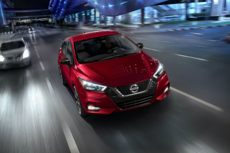 Front view of a red 2020 Nissan Versa
