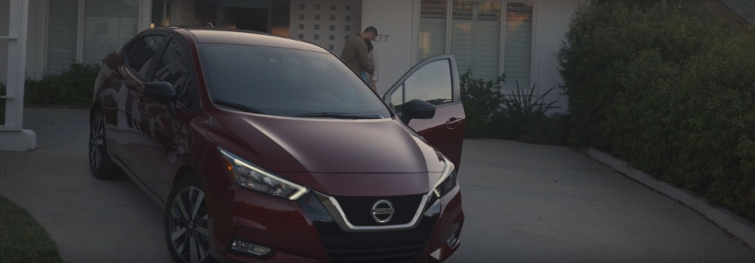 2020 Nissan Versa in the driveway in the 2020 Versa ad