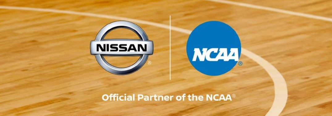 Nissan and NCAA logos on basketball court background