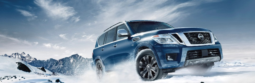 2020 Nissan Armada driving through snow