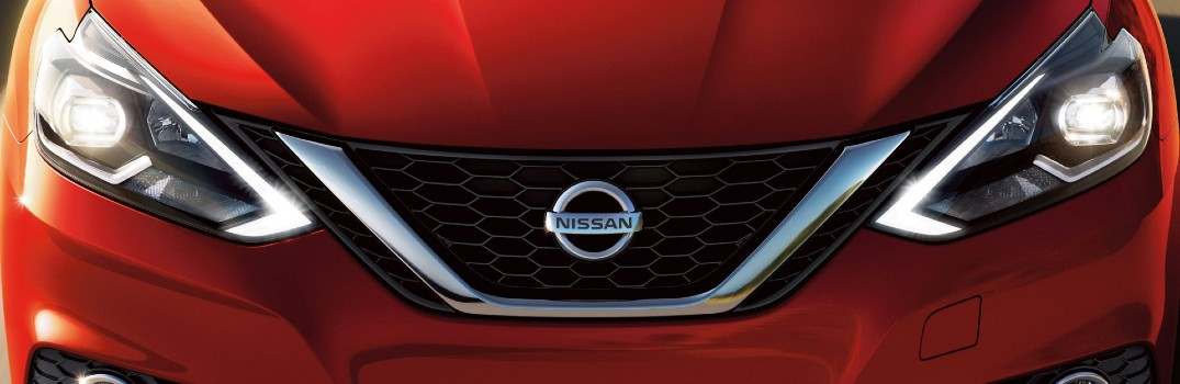 red 2020 Nissan Sentra headlights
