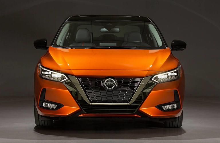 front view of a orange 2020 Nissan Sentra
