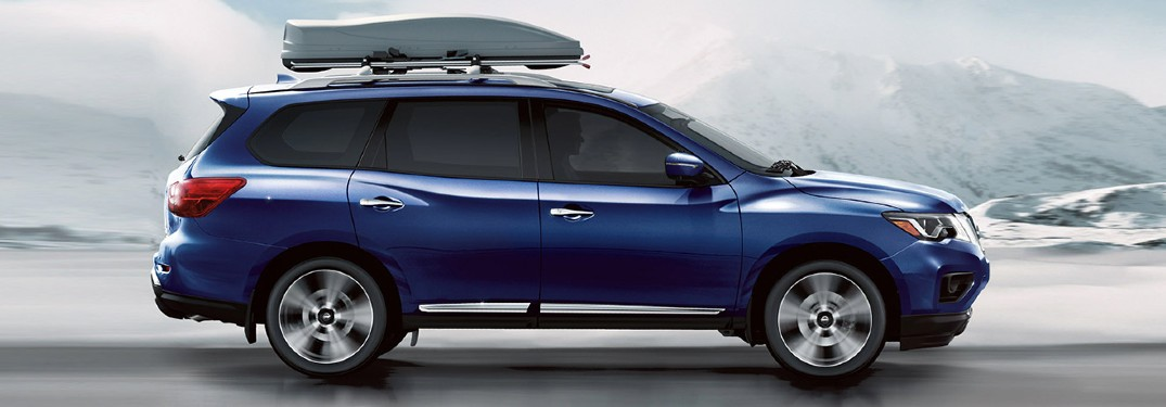 side view of the blue 2020 Nissan Pathfinder
