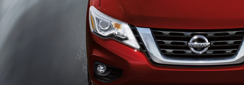 red 2020 Nissan Pathfinder headlights