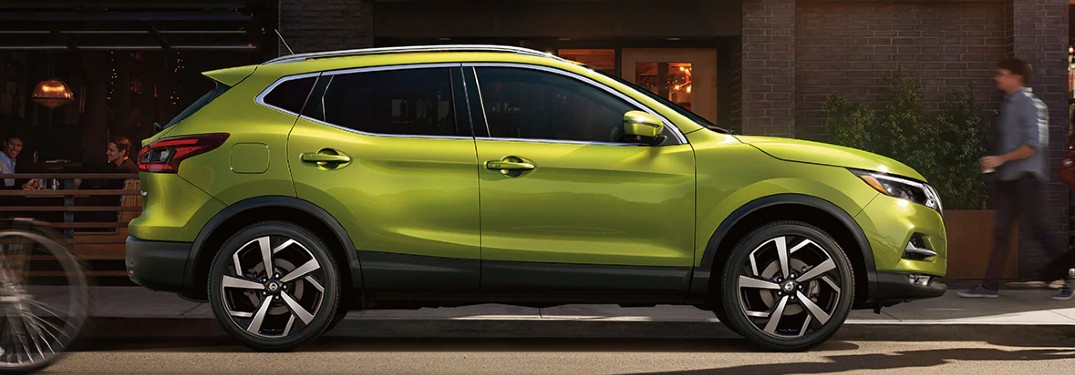 side view of green 2020 Nissan Rogue Sport