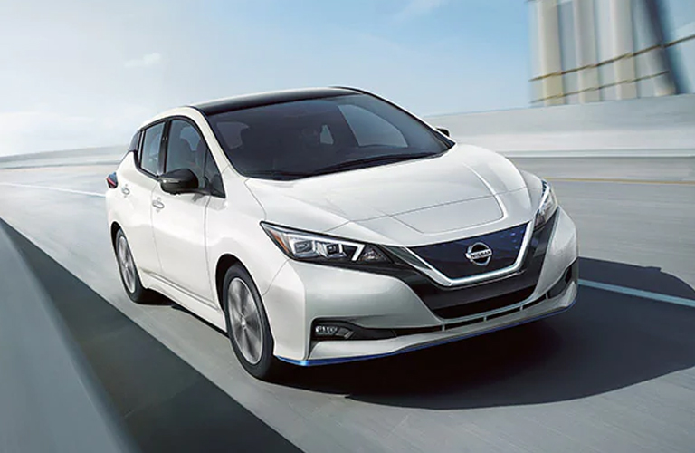 white 2020 Nissan LEAF front view