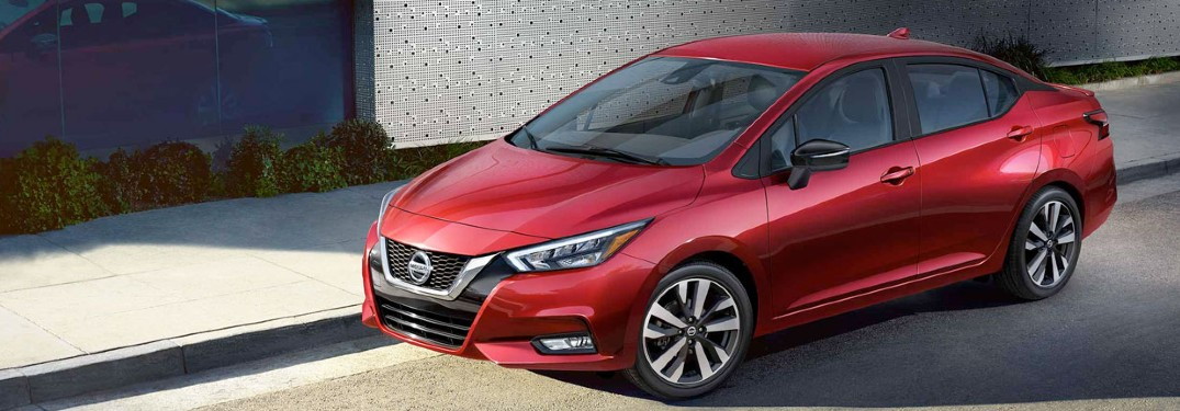 overhead view of red 2020 Nissan Versa