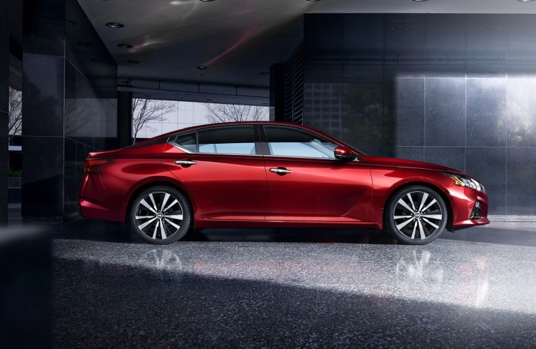 side view of the red 2020 Nissan Altima