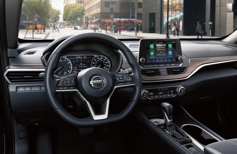 steering wheel and media screen in the 2020 Nissan Altima