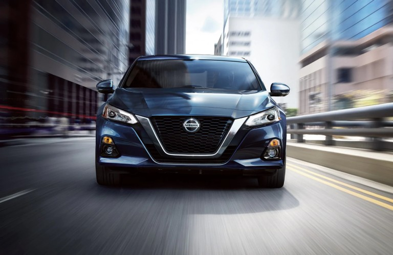 front view of the blue 2020 Nissan Altima