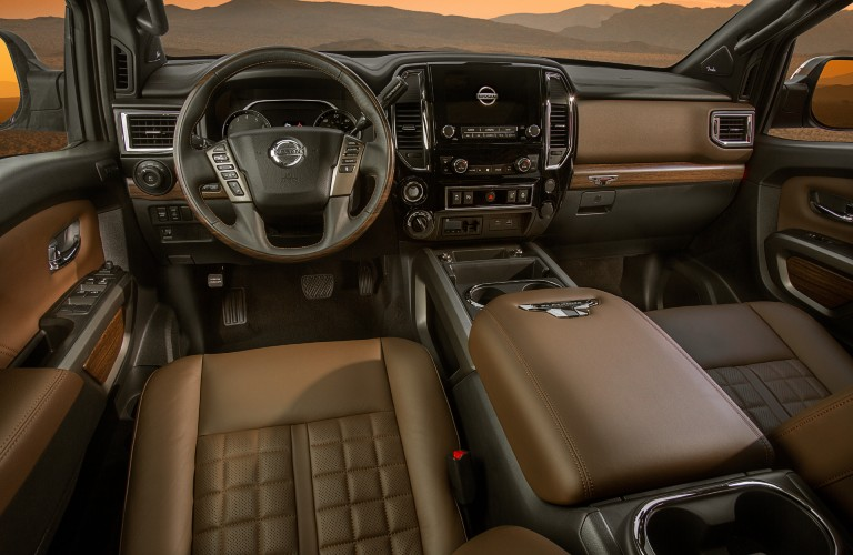 front interior of the 2021 Nissan Titan
