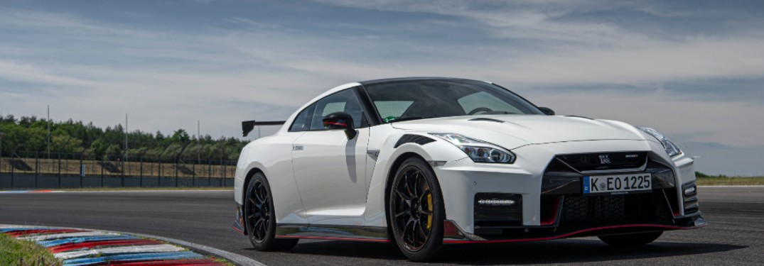 front of white 2021 Nissan GT-R