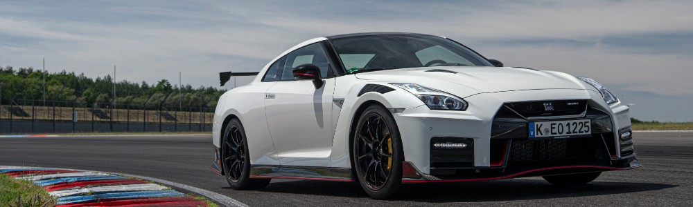 front view of the white 2021 Nissan GT-R NISMO