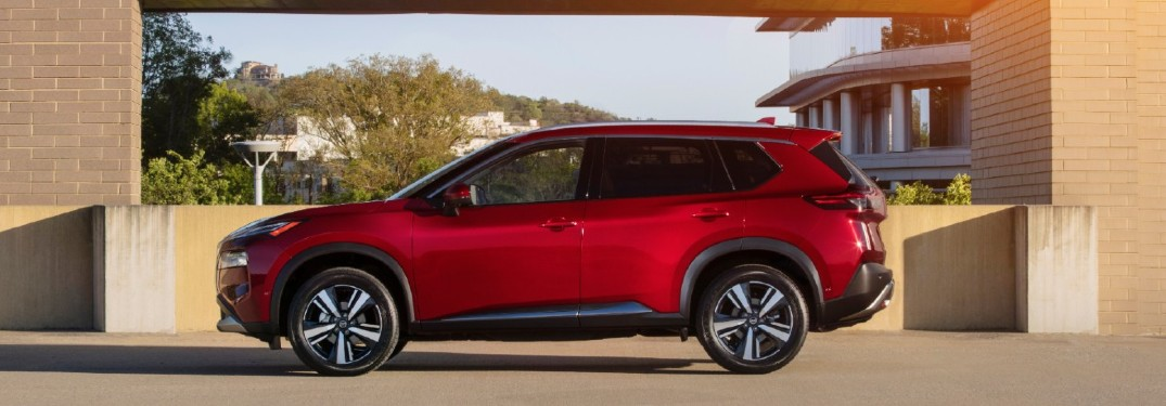 red 2021 Nissan Rogue side view