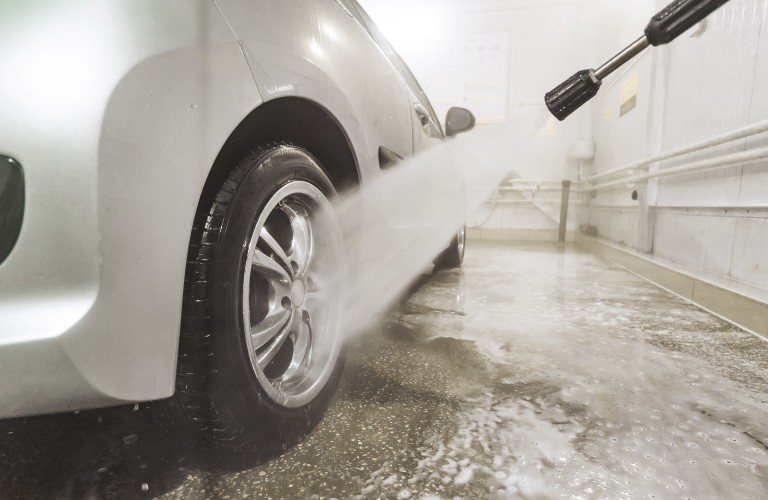 cleaning tire with pressure washer