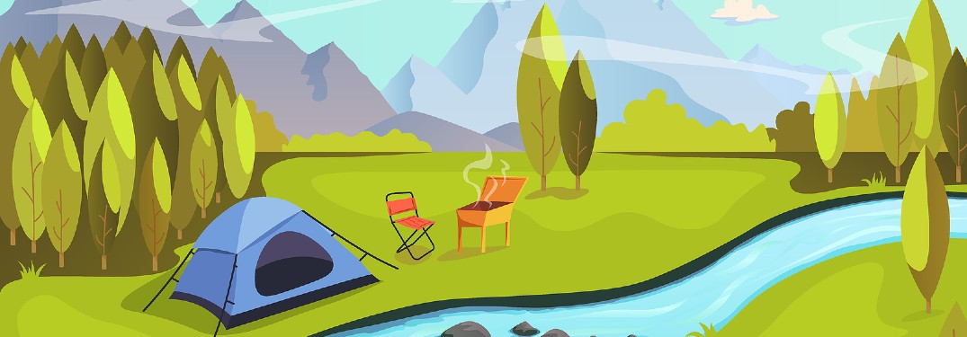 tent by river illustration