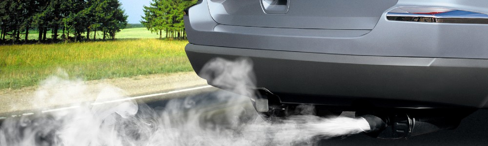 car with exhaust coming out