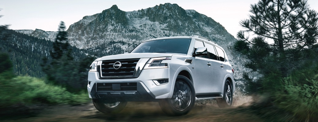 2022 Nissan Armada white front view off road