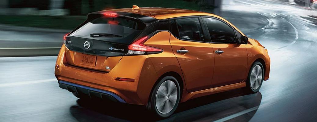 2022 Nissan LEAF orange back side view