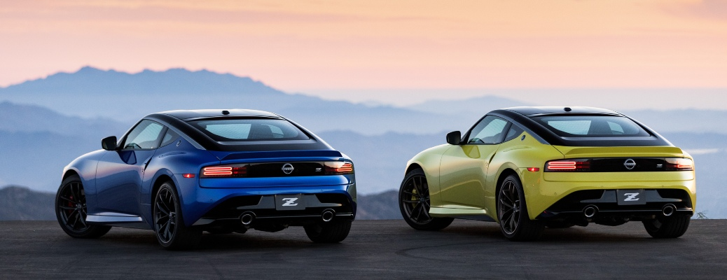 2023 Nissan Z blue and yellow back view