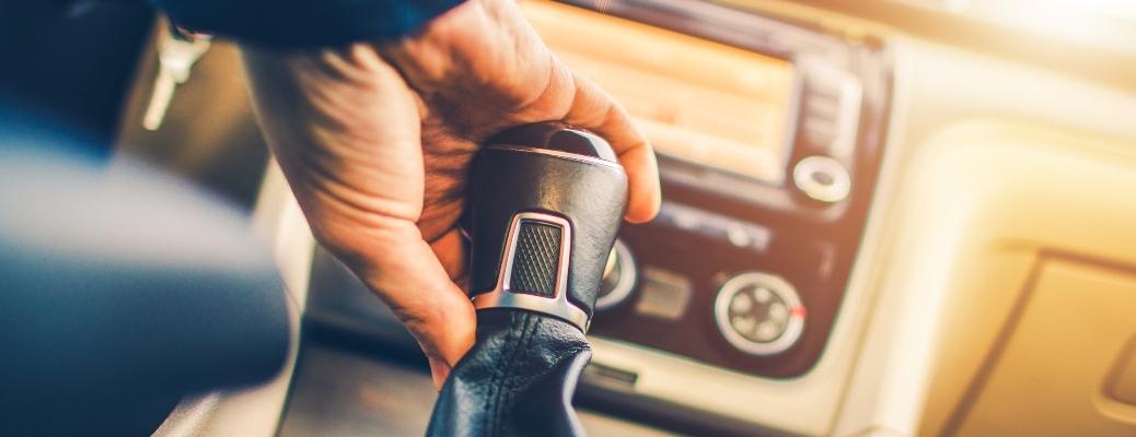 Manual Transmission Driving. Modern Car with Stick Shift Transmission