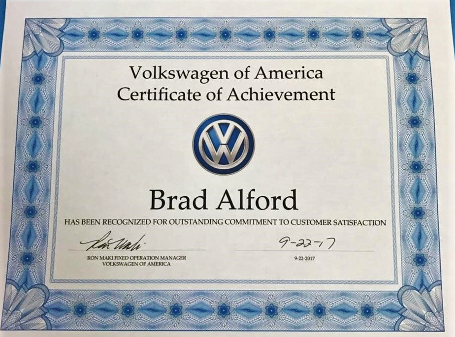 Herman Cook VW Certificate of Achievement