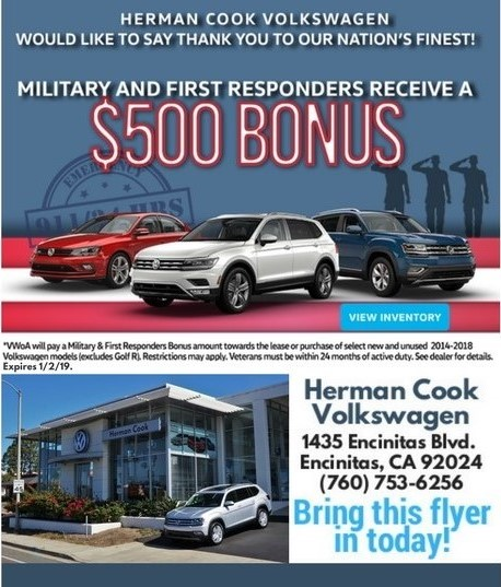 Military and First Responder $500-Bonus Flyer