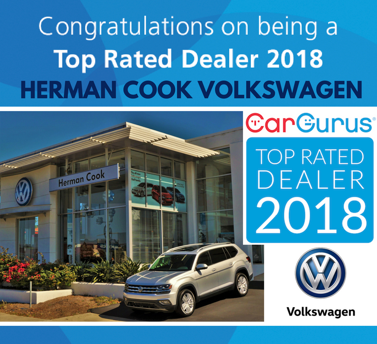 Herman Cook VW Named A 2018 Top Rated Dealer by CarGurus