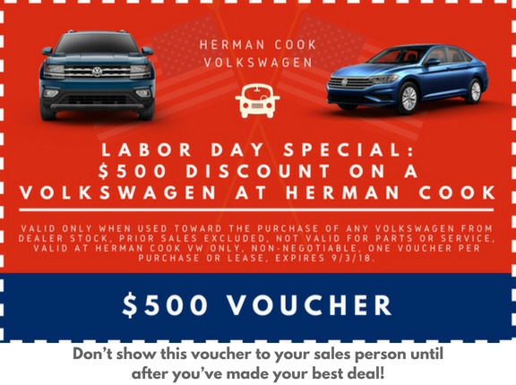 $500 Labor Day Voucher Herman Cook VW