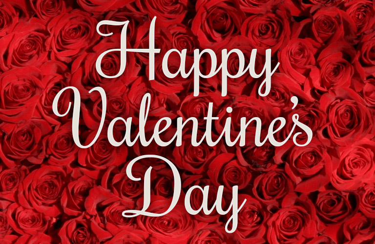 happy valentine's day written against a red rose background