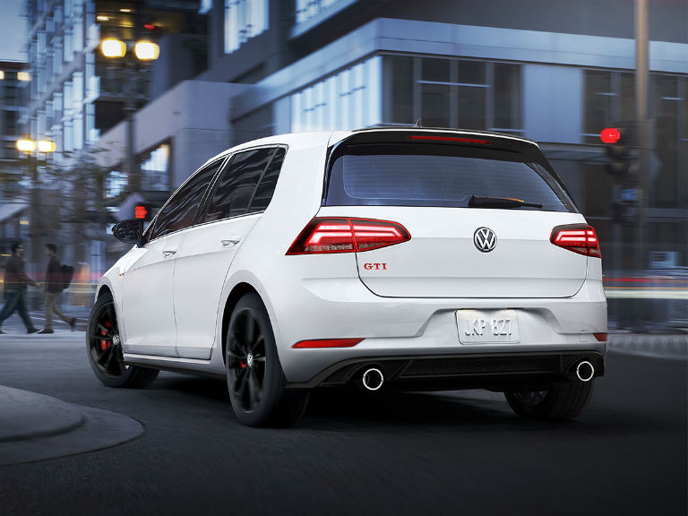 rear view of a white 2019 VW Golf GTI Rabbit Edition