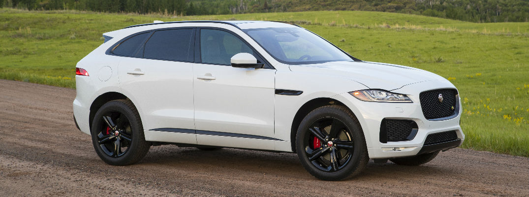 White 2017 Jaguar F-Pace Side Exterior on Dirt Road
