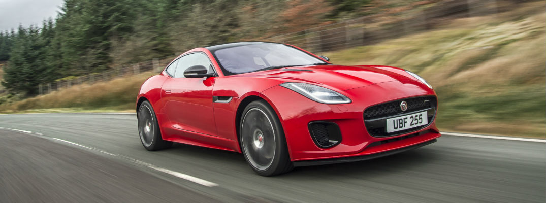 Red 2018 Jaguar F-TYPE Front Exterior on Country Highway