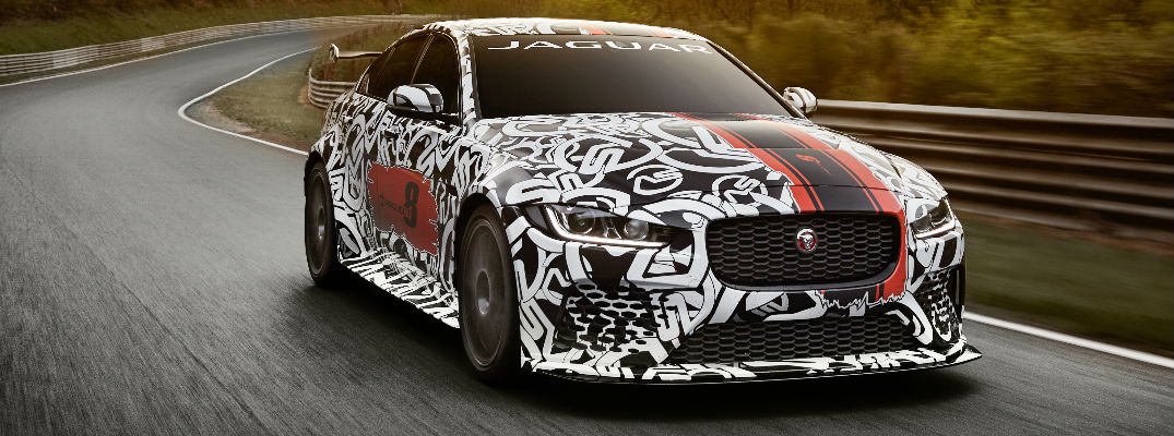 Camouflaged Jaguar XE SV Project 8 on the Nurburgring Racetrack